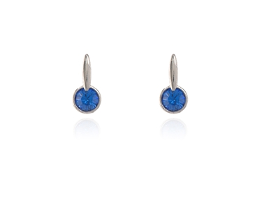 Cachet Swarovski Crystal  Lara Simply Stud Earrings Rhodium Sapphire