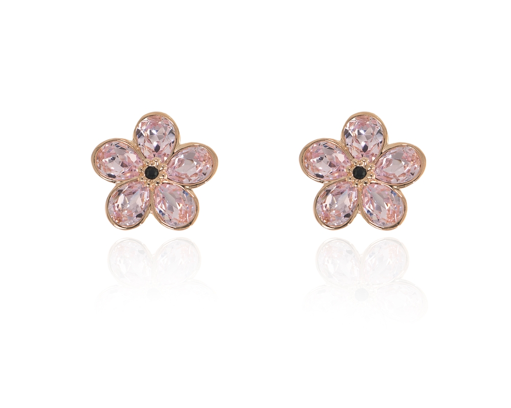 ea10bc516 Cachet Swarovski Crystal Forget-Me-Not Clip Earrings Pink Gold ...