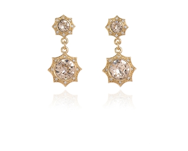 Swarovski Crystal  Becka Drop Pierced Earrings  | Gold Light Silk