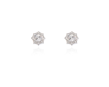 Swarovski Crystal  Becka Pierced Earrings  | Rhodium Crystal