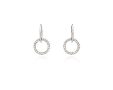 Cachet Swarovski Crystal  Lara Drop Pierced Earrings Rhodium