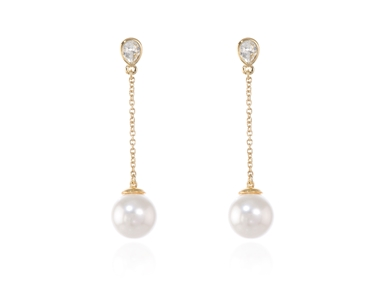 Cachet Swarovski Crystal  Ekin Pearl Pierced Earrings Gold White