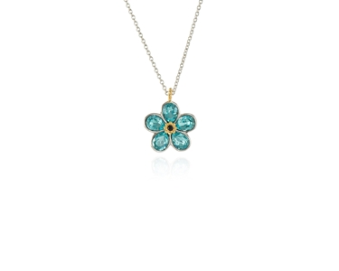 Cachet Swarovski Crystal  Forget-Me-Not Pendant Rhodium Light Turquoise