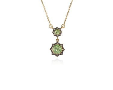 Swarovski Crystal  Becka Duo Necklace  | Gun Metal Peridot