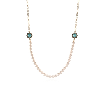 Swarovski Crystal  Becka Long Necklace  | Gun Metal Light Turquoise