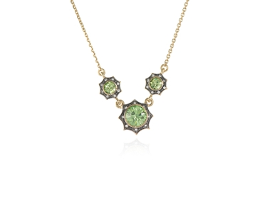 Swarovski Crystal  Becka Trio Necklace  | Gun Metal Peridot